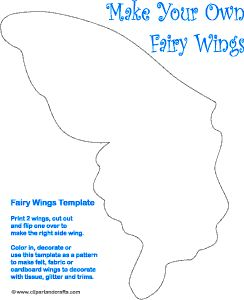 Fairy wings paper toy craft pattern halloween for Fairy cut out template