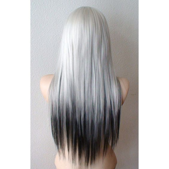 Ombre wig. Silver / Black Tri- colors Ombre wig. Silver/ Black... (3,015 MXN) ❤ liked on Polyvore featuring hair