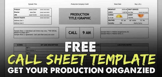 How do you make sure you and your crew know where they are going - sample call sheet