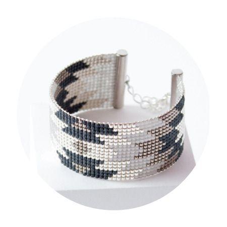 Bracelet tissé Aina - Bracelet tissé en perles Miyuki - bead woven bracelet with Japan beads - Gris et argent