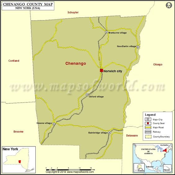 Chenango County Map for free download Printable map of Chenango