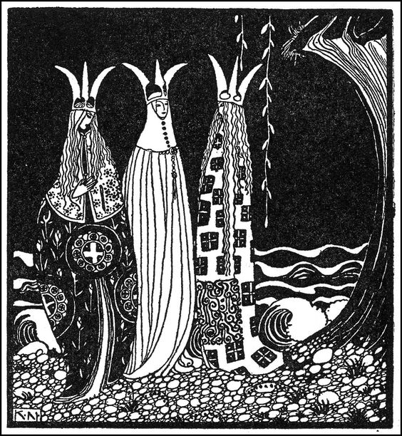 """Kay Nielsen, illustration to The Three Princesses of Whiteland, from """"East of the Sun, West of the Moon"""". """"next morning when he went out of the castle the Princesses stood before him with all their bodies out of the earth."""""""
