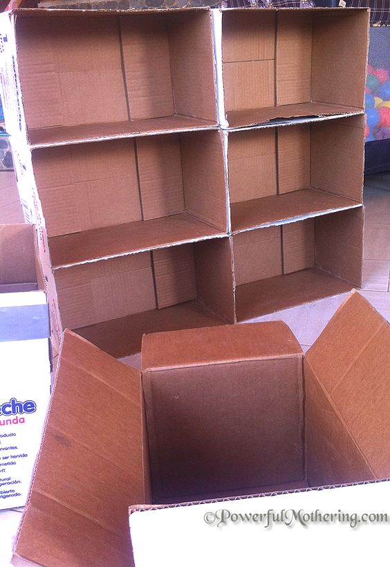 Making a shelf out of cardboard boxes box shelves diy for Diy shoe storage with cardboard