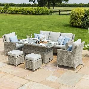 Maze Rattan Garden Furniture Oxford Corner Ice Bucket Set With Rising Table Bucket Corner In 2020 Corner Dining Set Rattan Garden Furniture Rattan Corner Dining Set