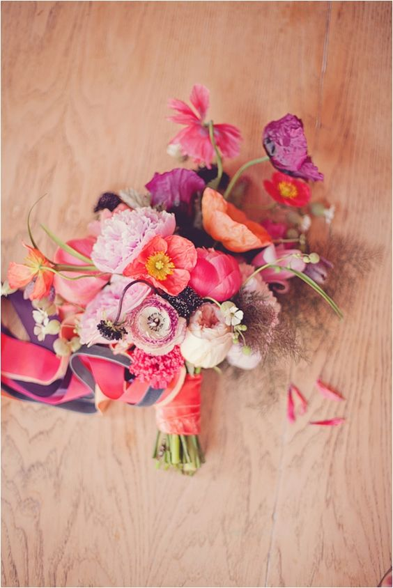 Mexican inspired florals Poppy / Ranunculus / Bronze Fennel / Coral Charm Peony / Scabiosa / Garden Roses / Fritillaria / Tulips