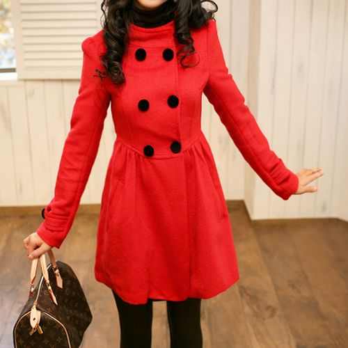Details about Hot Sale Fashion Lady Womens Long Pea Coats Classic