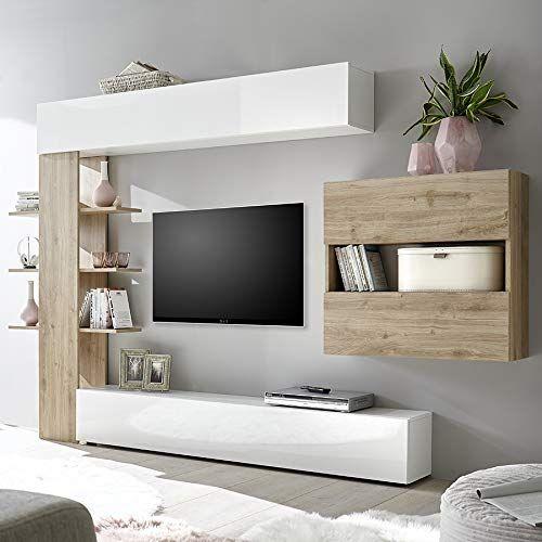 Nouvomeuble Ensemble Meubles Tv Blanc Et Chene Moderne Fino 3
