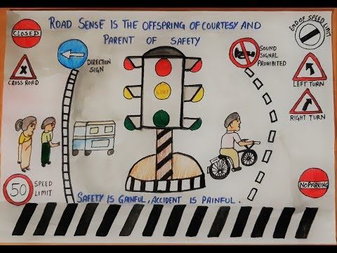how to draw city road safety drawing ll