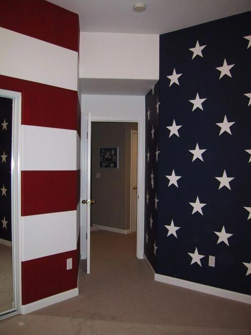 Patriotic Game Room I Would Love To Have A Room With These Walls Decoratingagameroomscrabbleletters American Flag Bedroom Room Paint Colors Room Paint