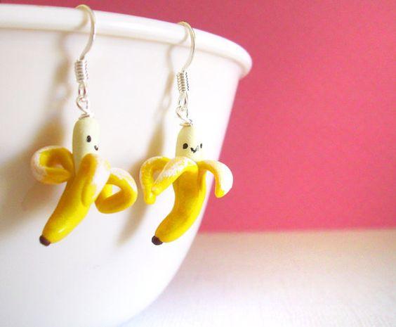 Smiling Banana Earrings, Clay Mini Fruit Earrings, Cute Kawaii Tropical Exotic Fruit, Monkey Food Earrings, Realistic. $15.00