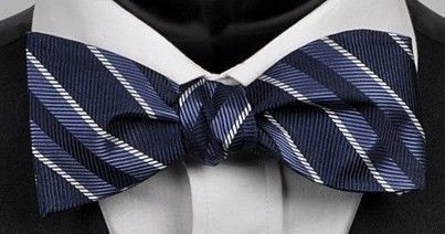 "NEW! Hand Made.100% NAVY Stripes SELF TIE Bow Tie. 2.5"" wide."