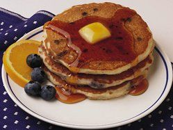 Blueberry pancakes- Use 1 to 1 1/4 c water, not 1 3/4.