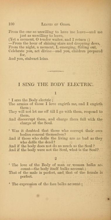 whitmans i sing the body electric I sing the body electric by cast of fame song meaning and on my way out the door i hit on this line from the walt whitman poem, i sing the body electric.