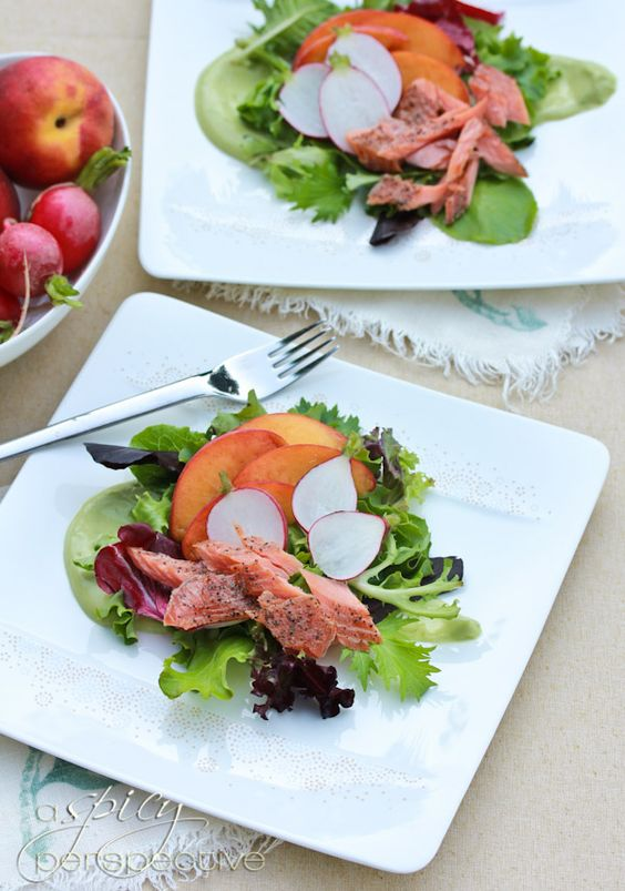 Smoked Trout Salad with Avocado Dressing - ASpicyPerspective.com #salad #trout #avocado