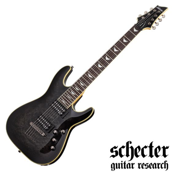 Schecter Omen Extreme 7 Electric Guitar - See Thru Black