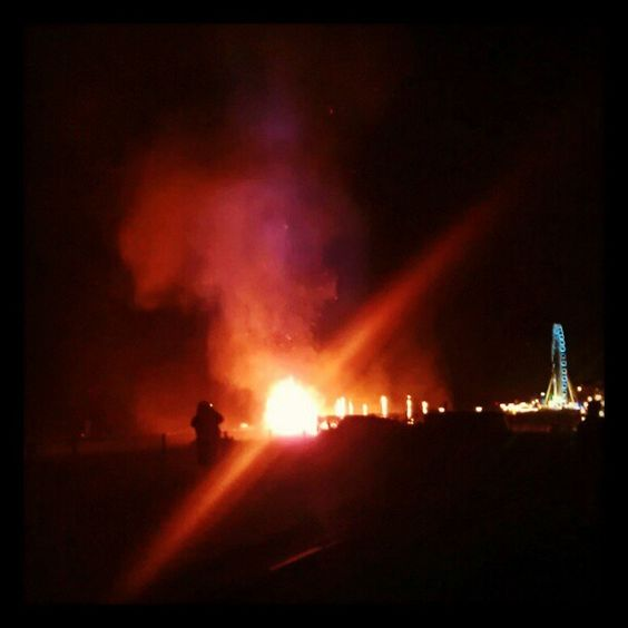 Big fire on Brighton beach for Burning of the Clocks winter solstice