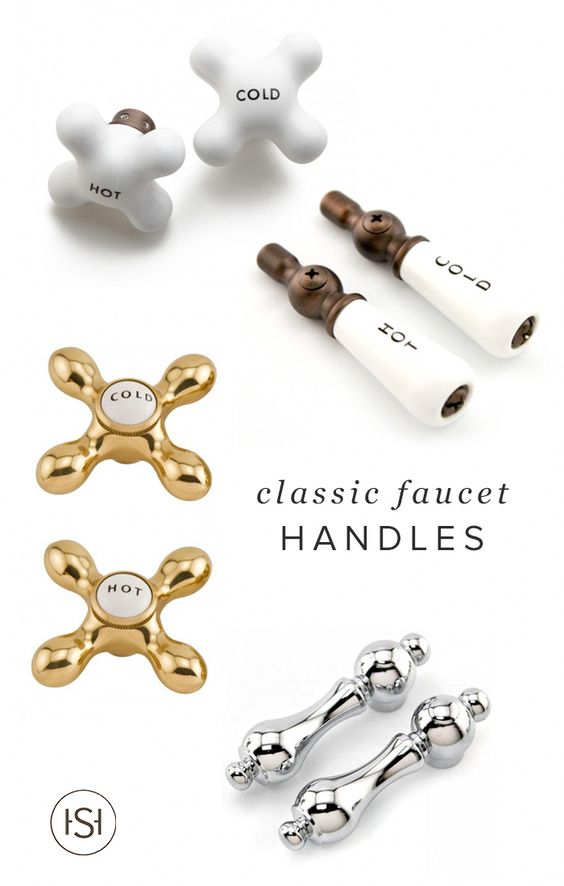 Want to add a sophisticated vintage charm to your bathroom? Look no further than this collection of classic faucet handles for the perfect mix of old and new. #bathroomstyle
