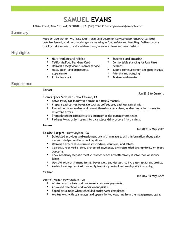 Restaurant Manager Resume Example - http\/\/wwwresumecareerinfo - sample resume food service worker