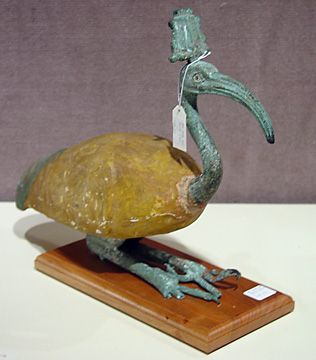 """""""Egyptian wood and bronze ibis, Late Period to Ptolemaic Period, 664-30 B.C., 16 inches long,"""