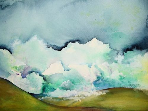 """Ocean of Clouds"" - Watercolor and Gouache on paper - 15"" x 11"""