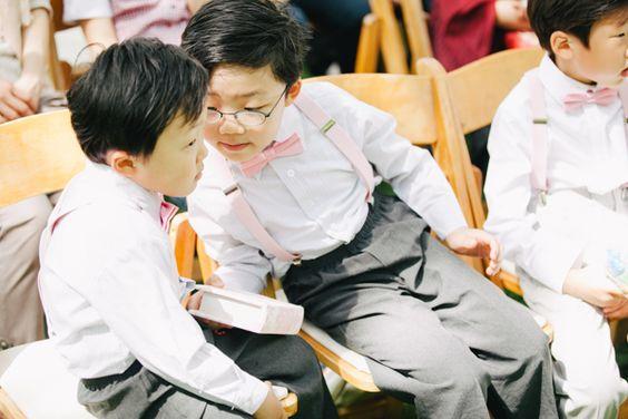 mini pink suspenders + bow ties! | Julie Lim #wedding