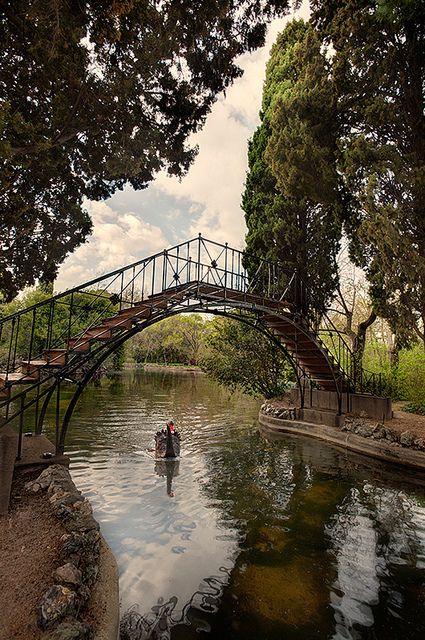 Lago del Jardin del Capricho, primer puente de hierro de España.