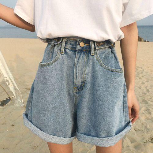 Korean Fashion Style Instagram Vintage Denim Shorts High Waisted Shorts Denim Fashion