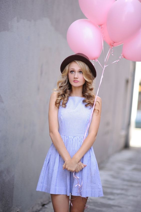Petaluma Senior Portrait Photography #pink balloons #Styled Senior portraits #blue dress #Sonoma County