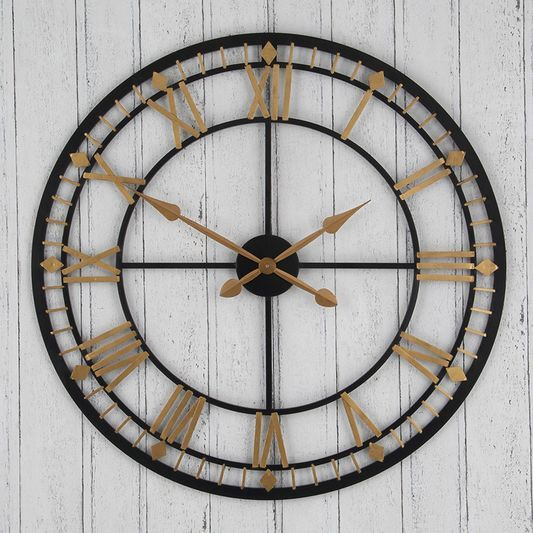 Black and Gold Oversized Wall Clock