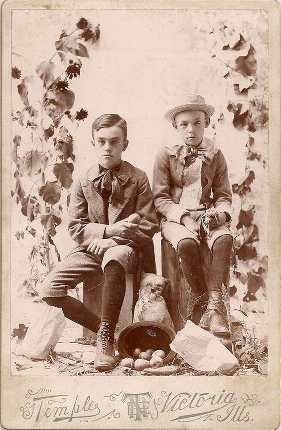 Allegorical Cabinet Photo~Victoria IL Boys~Dead Flowers~Potatoes~Banana Peel~Dog