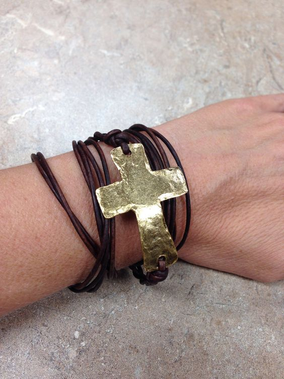 Primitive Gold Cross with Brown Leather Wrap Bracelet (also available in Black Leather).  Item #  Available at Impulse Gifts 812.481.2880 We ship daily.   https://www.facebook.com/ImpulseJasper