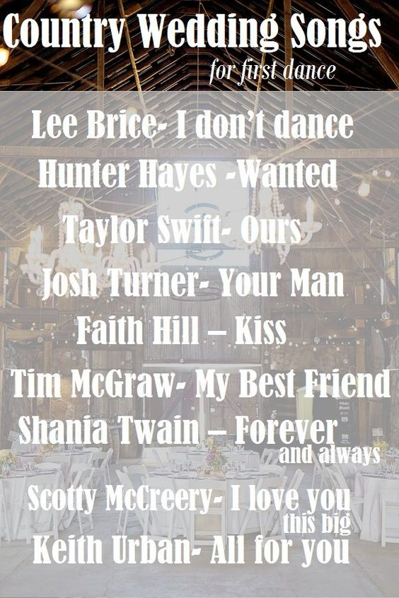 Top #Country Wedding #songs for First Dance! See more on http://www.rusticfolkweddings.com/2014/09/27/top-country-wedding-songs-first-dance/