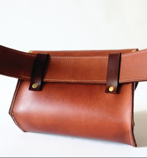 Leather Hip Bag by fortunamonsoonshop on Etsy