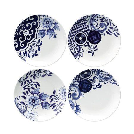 Loveramics - Assiettes à dessert Willow Love Story— lot de 4 - 15 cm  Conçu par Dinah Body.  Motif bleu. Inspiré d'un motif vieux de 200 ans Découvrez l'histoire de deux amants.