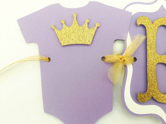 Princess Baby Shower Banner In Lavender And Gold, Purple And Gold Baby  Shower Decorations By