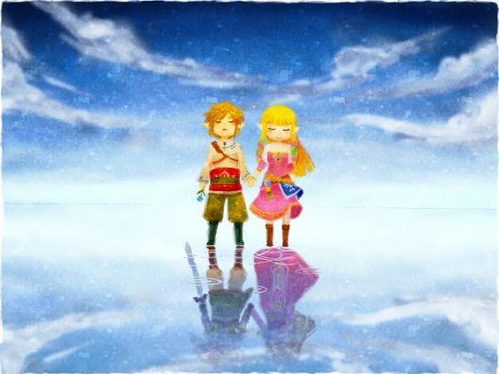 Link and Zelda (i didnt notice their reflections until now...)