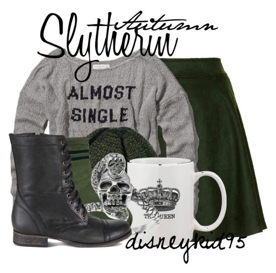 """""""Slytherin"""" by disneykid95 ❤ liked on Polyvore featuring Sister Jane, Abercrombie & Fitch, SELECTED, ASOS, Tressa and Steve Madden"""