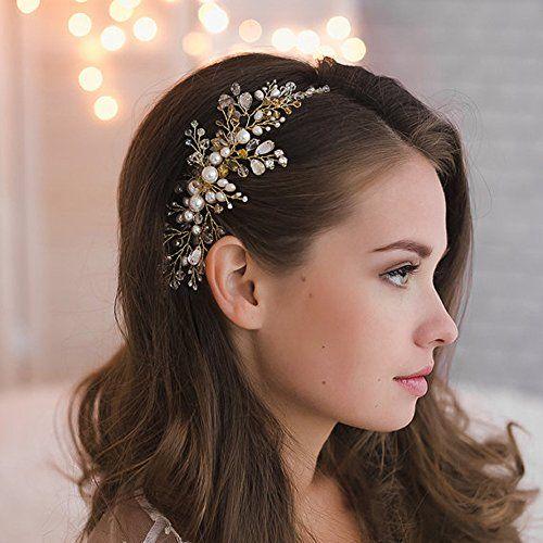 Bridal Hair Comb Golden Bride Tiara Pearls Rhinestone Bridal Comb Bridesmaid Flower Girl Hair Comb Party Hair Comb Wedding Hair Accessory