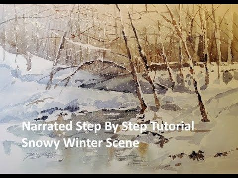 Transparent Watercolor Narrated Step By Step Tutorial Snowy Winter