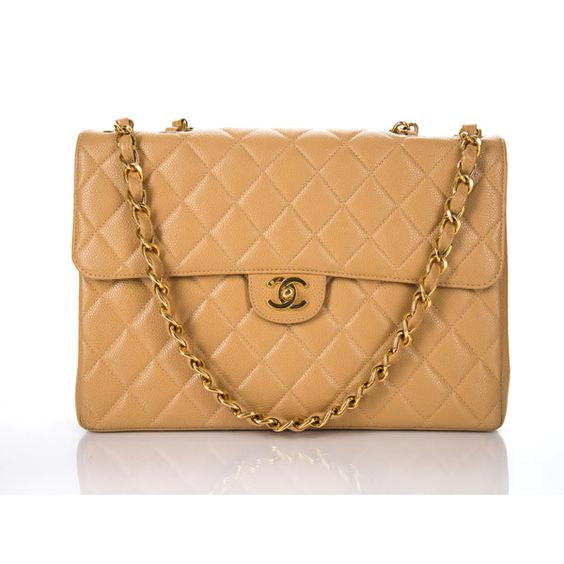 Chanel Pre-Owned Chanel Vintage Beige Caviar Jumbo Single Flap Bag... ($5,039) ❤ liked on Polyvore featuring bags, handbags, beige, beige purse, leather hand bags, leather man bags, chain handle purses and beige handbags