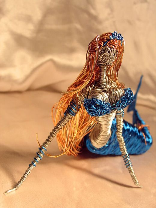 Blue mermaid wire sculpture: