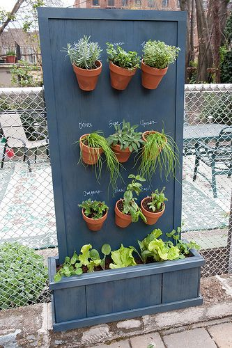 Vertical Herb Garden. Keep in mind that the board will get wet every time you water. But it's a clever space-saving idea that won't cost much.