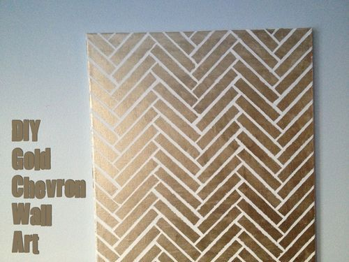 Diy gold herringbone canvas diy wall art pinterest for Diy chevron wall art