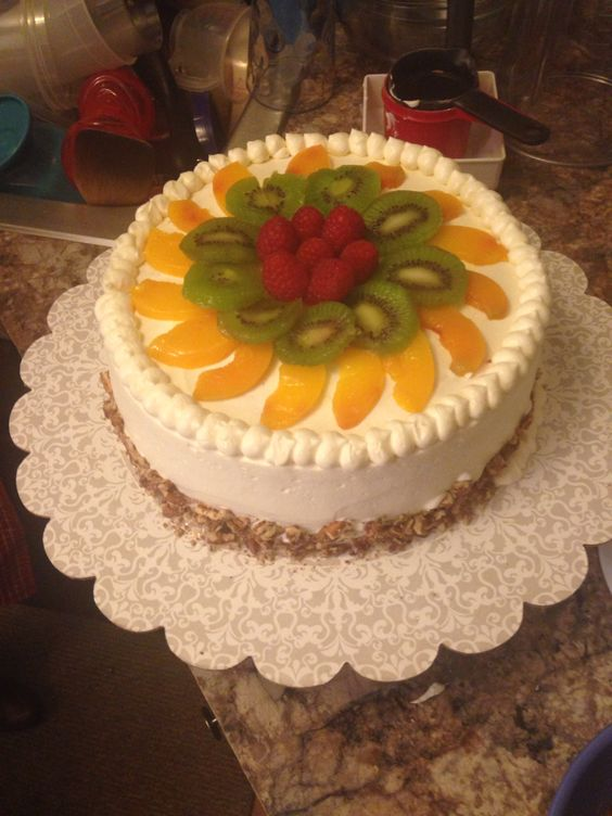 Birthday Cake Decorated With Fruits : Tres lech cake with fruit la cereza del pastel ...