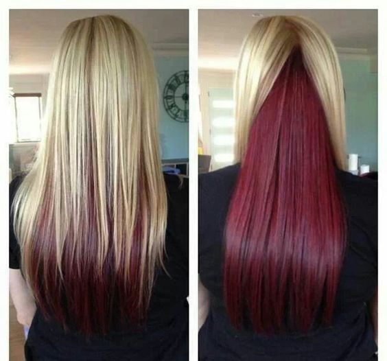 Red under layer hair. would look awesome with brown hair ...