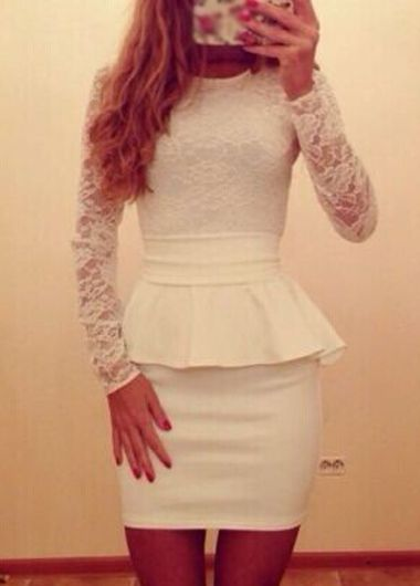 Sexy White Lace Splicing Long Sleeve Peplum Dress