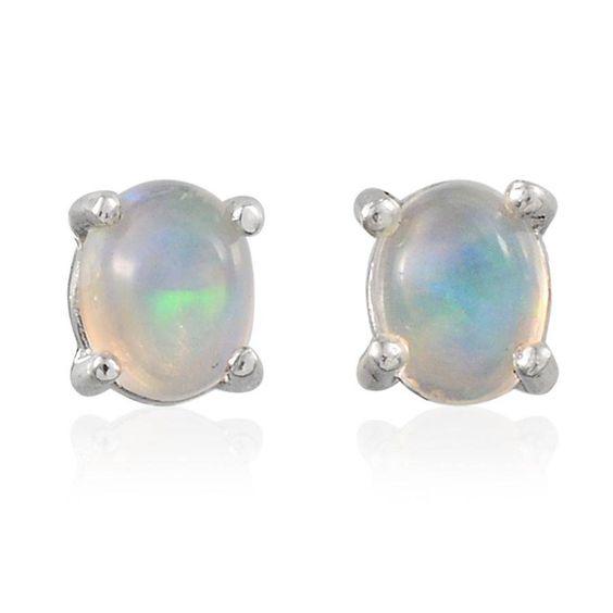 Ethiopian Welo Opal (Ovl) Stud Earrings in Platinum Overlay Sterling Silver Nickel Free TGW 0.50 Cts.   Stud Earrings   Earrings   Jewelry   Online Store   Liquidation Channel Site