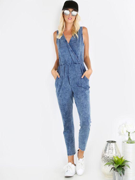Shop Blue Pocket Sleeveless Surplice Jumpsuit online. SheIn offers Blue Pocket…