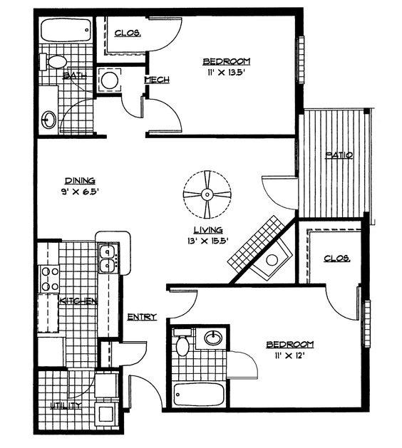 Awe Inspiring Small House Floor Plans 2 Bedrooms Bedroom Floor Plan Download Largest Home Design Picture Inspirations Pitcheantrous