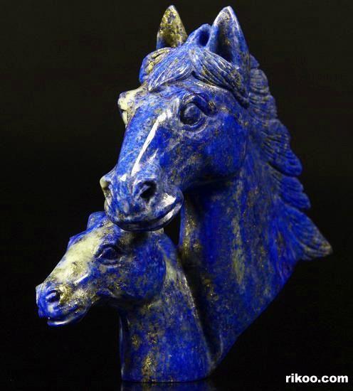 Lapis Lazuli Crystal Horse Heads